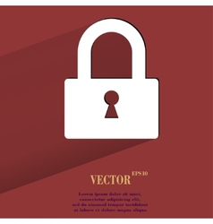 padlock Flat modern web button with long shadow vector image