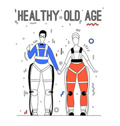Pair happy healthy old people in exosuits with vector