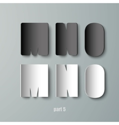 Paper Graphic Alphabet white and black MNO vector
