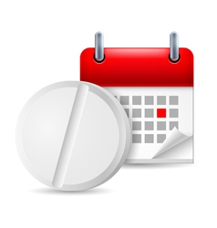 Pill and calendar vector