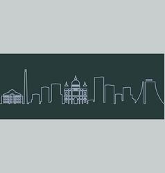 Porto alegre single line skyline vector