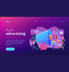 Push advertising concept landing page vector