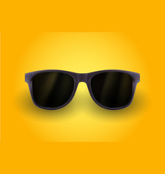 realistic sunglasses isolated on yellow background vector image