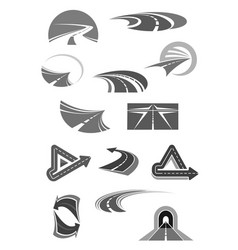 Road icons of travel construction company vector