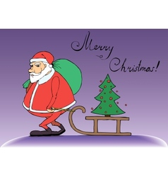 Santa Claus carries gifts for Christmas vector image