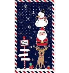 santa reindeer snowman at night vector image