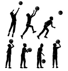 set silhouettes boy playing basketball vector image