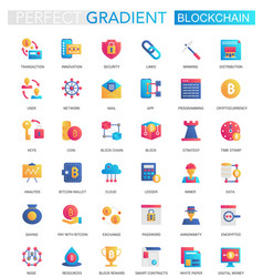 set trendy flat gradient blockchain vector image
