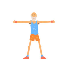 Skinny old man stretching before gymnastics vector