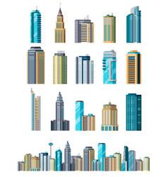 Skyscraper buildings modern building flat office vector