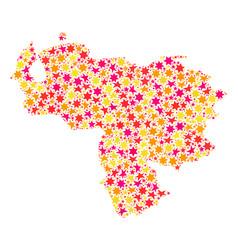 Star collage map of venezuela vector