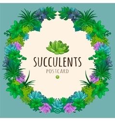 Succulents wreath vector