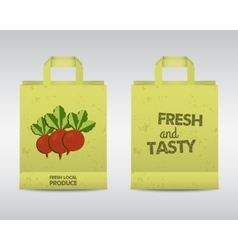 Summer Farm Fresh paper bag template Stylish Mock vector