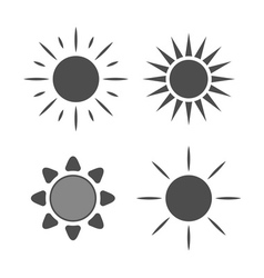 Sun icons set Gray signs isolated vector image