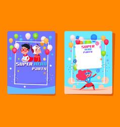 Superhero kids party preschool children in vector