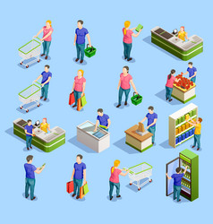 Supermarket isometric elements collection vector