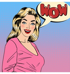 Surprised Woman Happy Girl Pin Up Girl vector image