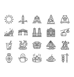 taiwan icon set vector image
