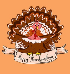 Thanksgiving card with turkey bird vector