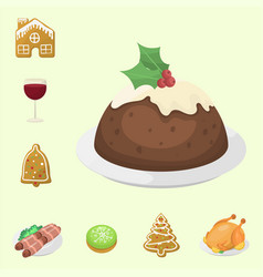 traditional christmas food and desserts holiday vector image