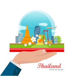 Travel to thailand concept in flat design vector