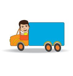 Truck-driver vector