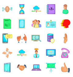 Useful information icons set cartoon style vector