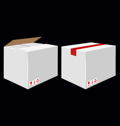 White cardboard close box side view package vector
