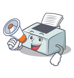With megaphone printer character cartoon style vector
