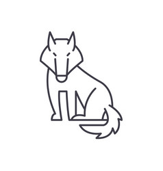 wolf line icon concept wolf linear vector image