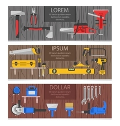 Work Tools Horizontal Banners Set vector