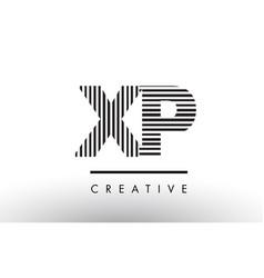 Xp x p black and white lines letter logo design vector