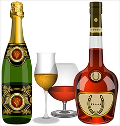 champagne and cognac vector image