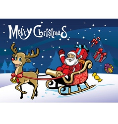 Cheerful santa claus and the happy deer vector image vector image