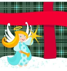 christmas angel and big present vector image vector image