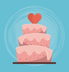 colorful background of wedding cake with heart on vector image