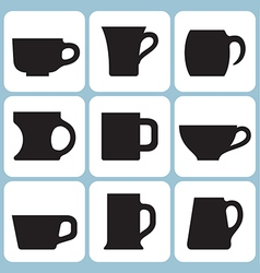 cup silhouettes set vector image