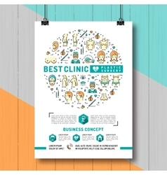 Poster Plastic Surgery Colorful thin line symbols vector image vector image