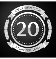 Twenty years anniversary celebration with silver vector image vector image