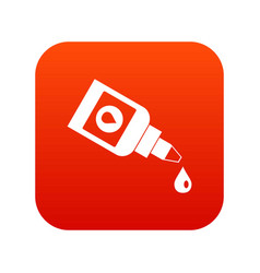 bottle for eye drops icon digital red vector image