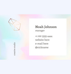 double-sided business card template crystal logo vector image vector image