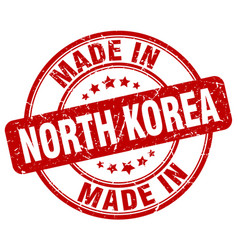 made in north korea red grunge round stamp vector image