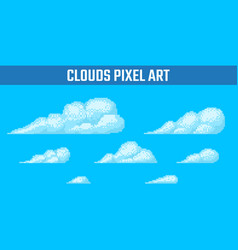 set of pixel clouds on blue background vector image vector image
