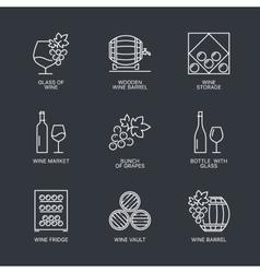 Thin line wine icons set vector image