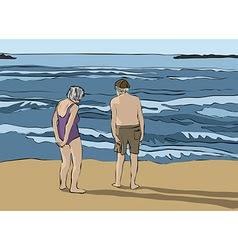 Elderly couple looking at the horizon vector