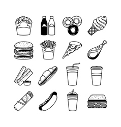 Food and fastfood icons vector image vector image