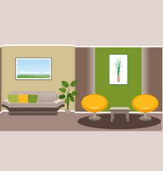 Living room interior with modern furniture vector