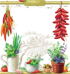 Strings of peppers and country Still life vector image vector image