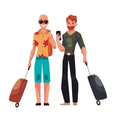 Two young men bald and red haired travelling vector image