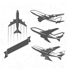 vintage airplane symbols aviation stamps vector image